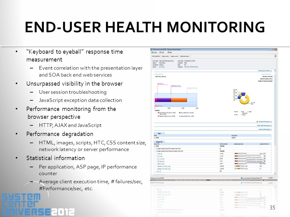 END-USER HEALTH MONITORING Keyboard to eyeball response time measurement – Event correlation with the presentation layer and SOA back end web services Unsurpassed visibility in the browser – User session troubleshooting – JavaScript exception data collection Performance monitoring from the browser perspective – HTTP, AJAX and JavaScript Performance degradation – HTML, images, scripts, HTC, CSS content size, network latency or server performance Statistical information – Per application, ASP page, IP performance counter – Average client execution time, # failures/sec, #Performance/sec, etc.