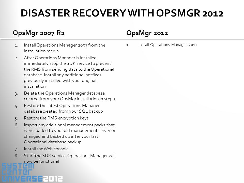 OPSMGR 2007 R2 – DEPLOYMENT TOPOLOGY Provides the following services: Console access Alert notifications Connectors to other mgmt systems Health aggregation Introduces the following customer challenges: Performance and scalability bottleneck High end hardware required High availability requires clustering Provides the following services: Console access Alert notifications Connectors to other mgmt systems Health aggregation Introduces the following customer challenges: Performance and scalability bottleneck High end hardware required High availability requires clustering