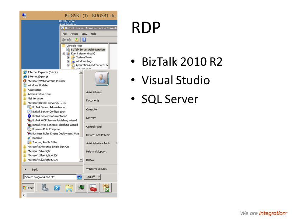 RDP BizTalk 2010 R2 Visual Studio SQL Server
