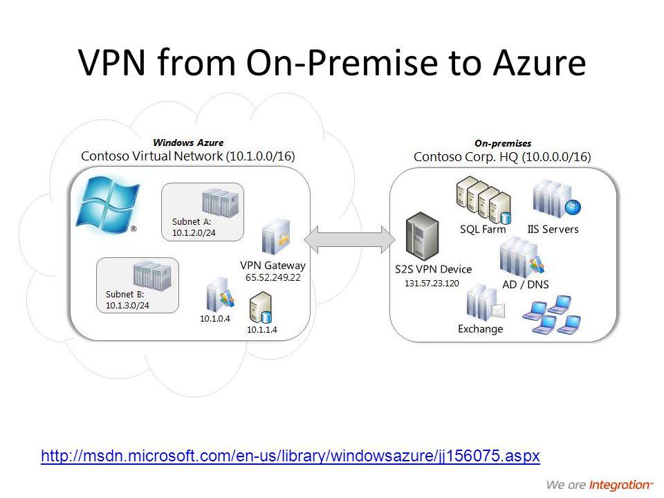 VPN from On-Premise to Azure http://msdn.microsoft.com/en-us/library/windowsazure/jj156075.aspx