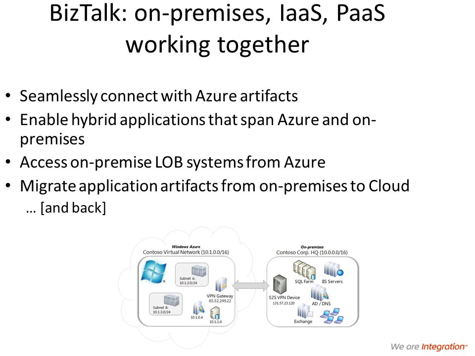BizTalk: on-premises, IaaS, PaaS working together Seamlessly connect with Azure artifacts Enable hybrid applications that span Azure and on- premises Access on-premise LOB systems from Azure Migrate application artifacts from on-premises to Cloud … [and back]