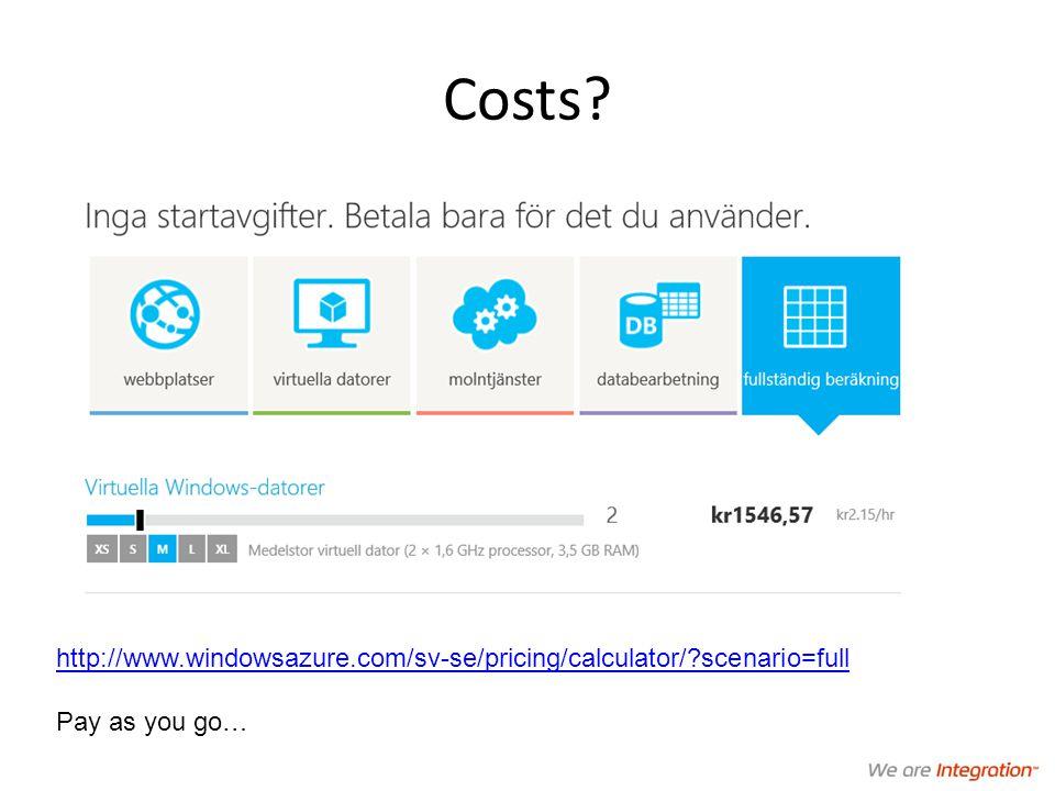 Costs http://www.windowsazure.com/sv-se/pricing/calculator/ scenario=full Pay as you go…