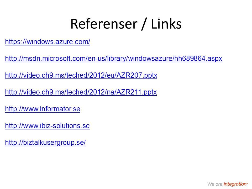 Referenser / Links https://windows.azure.com/ http://msdn.microsoft.com/en-us/library/windowsazure/hh689864.aspx http://video.ch9.ms/teched/2012/eu/AZR207.pptx http://video.ch9.ms/teched/2012/na/AZR211.pptx http://www.informator.se http://www.ibiz-solutions.se http://biztalkusergroup.se/