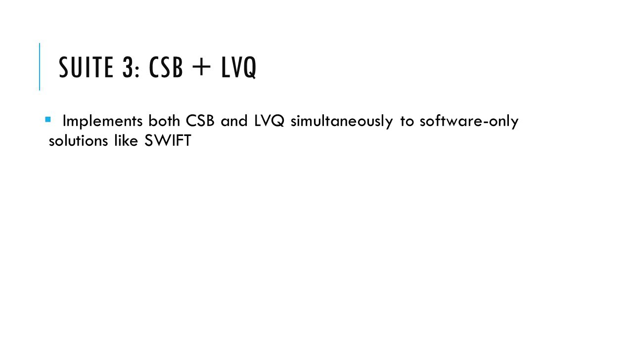 SUITE 3: CSB + LVQ  Implements both CSB and LVQ simultaneously to software-only solutions like SWIFT