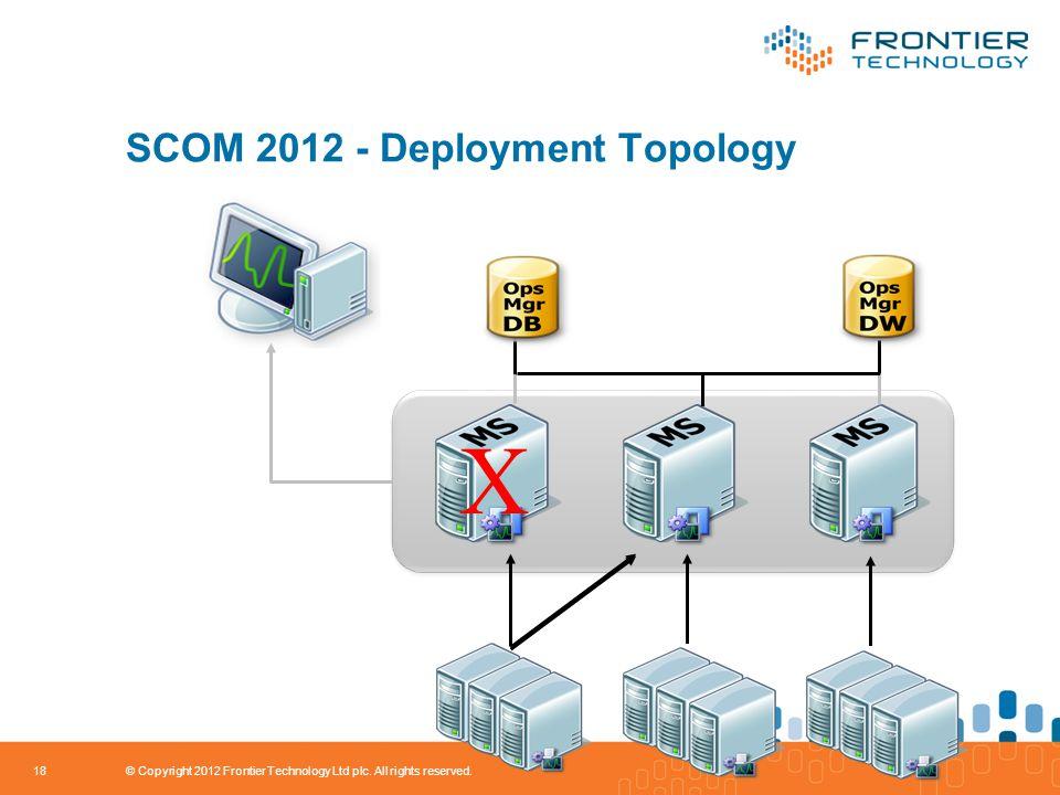 SCOM 2012 - Deployment Topology 18 X © Copyright 2012 Frontier Technology Ltd plc.
