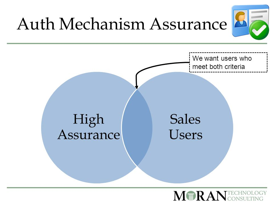 Auth Mechanism Assurance High Assurance Sales Users We want users who meet both criteria