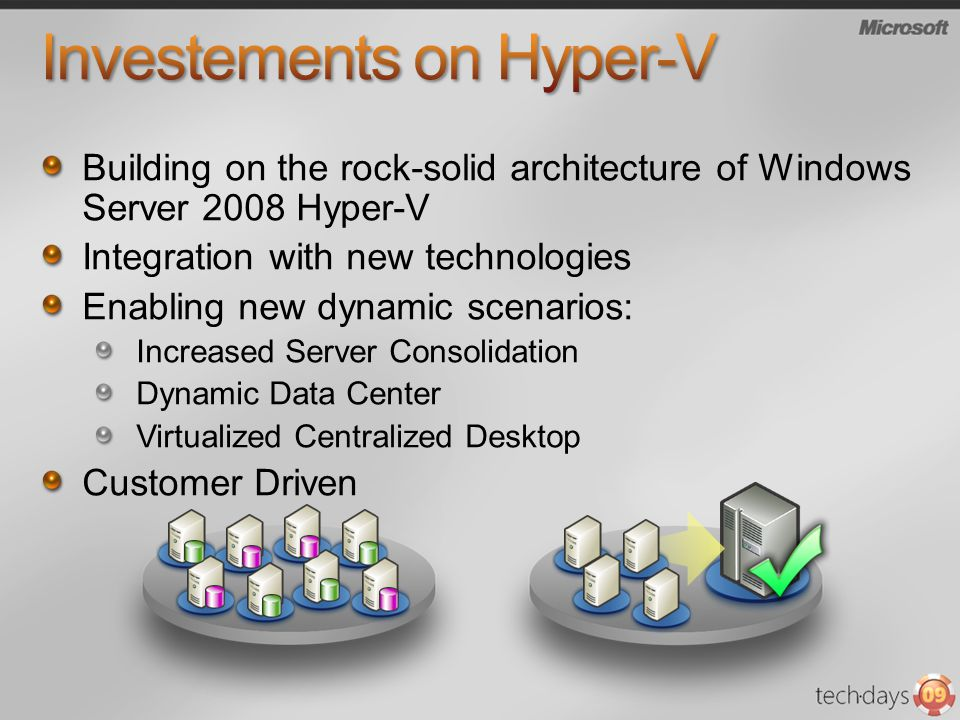 Building on the rock-solid architecture of Windows Server 2008 Hyper-V Integration with new technologies Enabling new dynamic scenarios: Increased Server Consolidation Dynamic Data Center Virtualized Centralized Desktop Customer Driven
