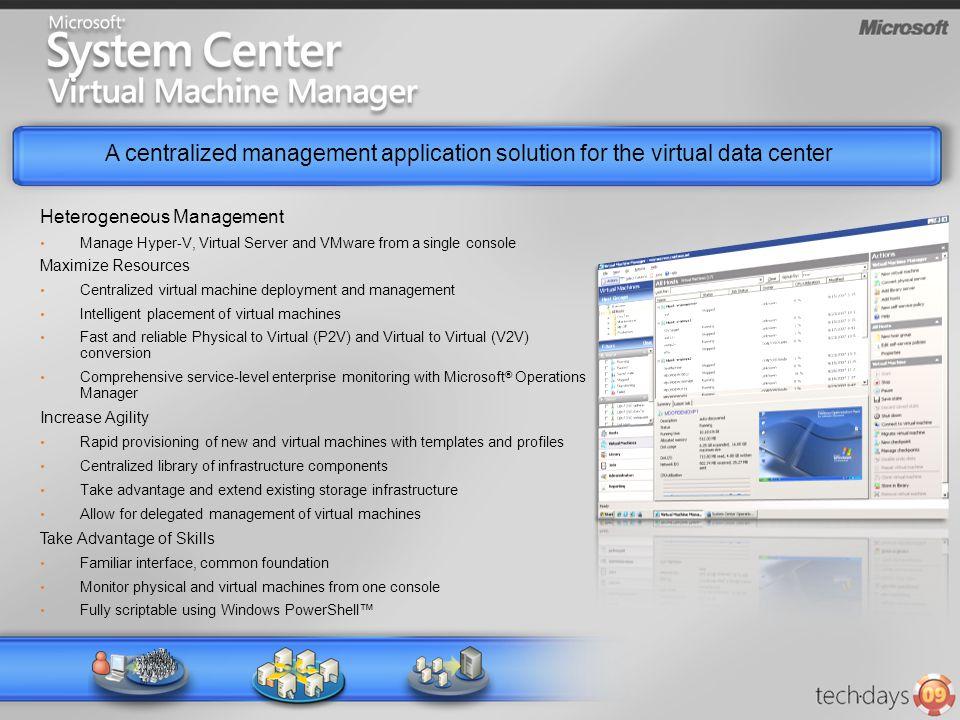A centralized management application solution for the virtual data center VM VMVM Heterogeneous Management Manage Hyper-V, Virtual Server and VMware f