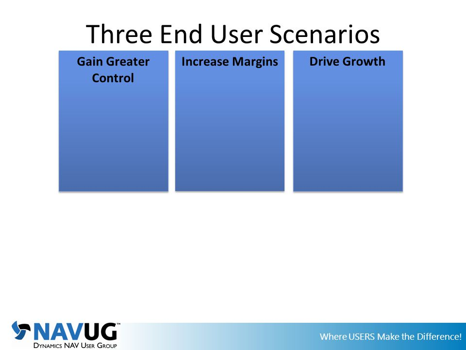 Where USERS Make the Difference! Three End User Scenarios