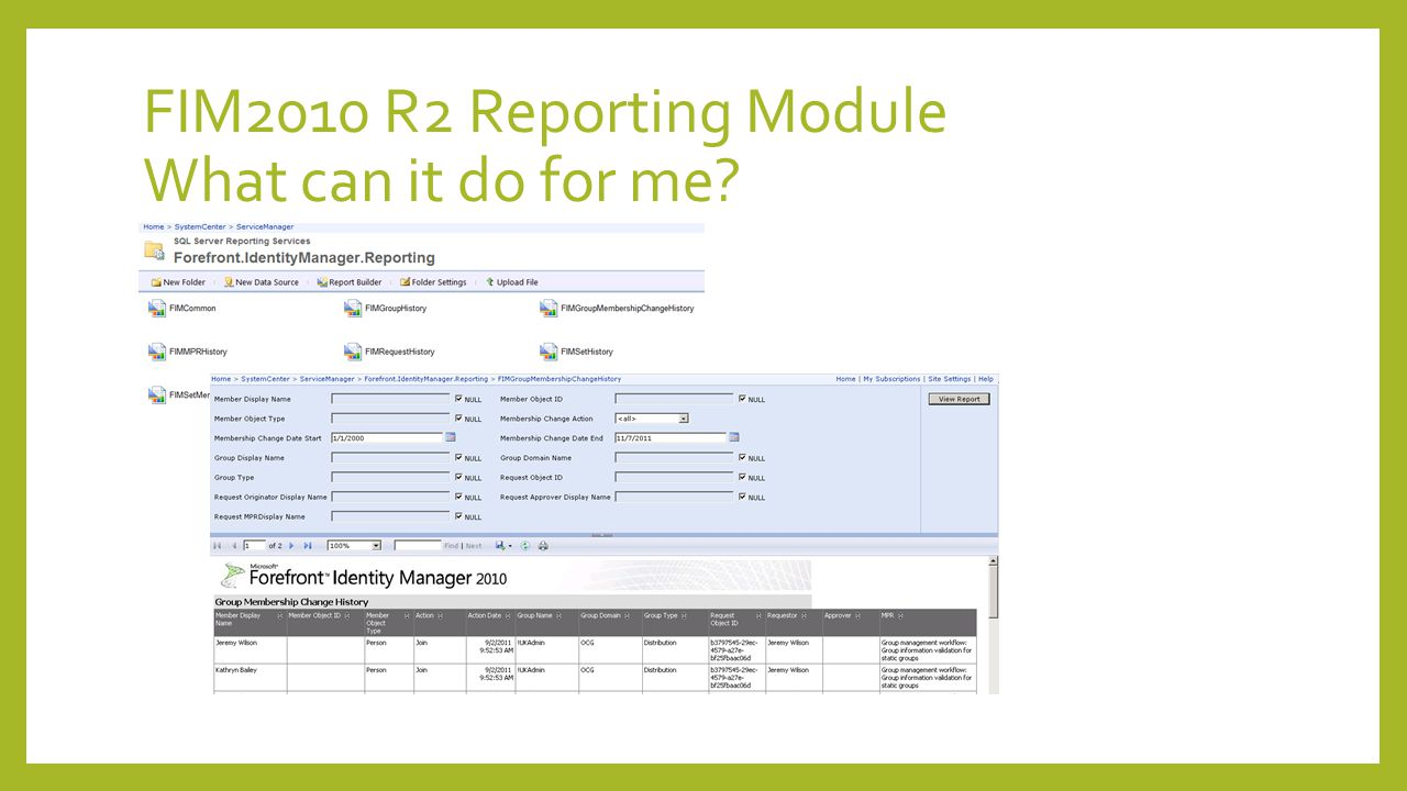 FIM2010 R2 Reporting Module What do I need.