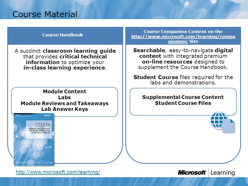 Course Companion Content on the http://www.microsoft.com/learning/compa nionmoc Site Course Material http://www.microsoft.com/learning/ Module Content Labs Module Reviews and Takeaways Lab Answer Keys A succinct classroom learning guide that provides critical technical information to optimize your in-class learning experience.