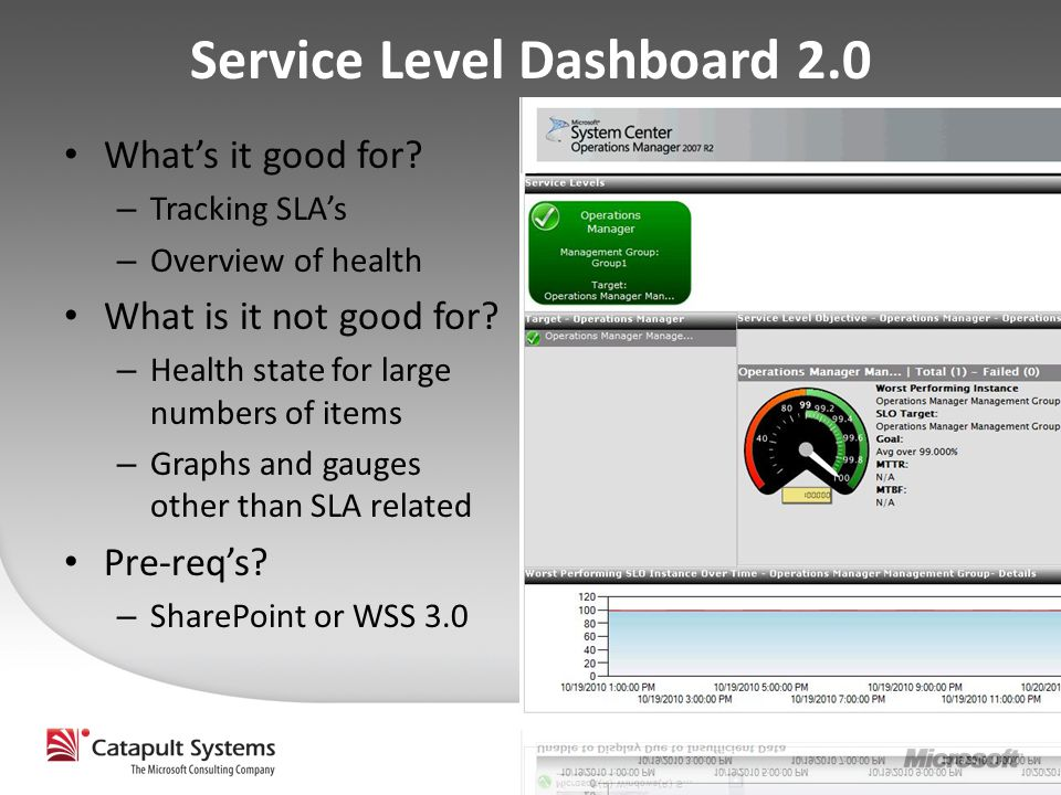Service Level Dashboard 2.0 What's it good for.