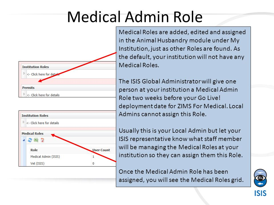 Medical Admin Role Medical Roles are added, edited and assigned in the Animal Husbandry module under My Institution, just as other Roles are found. As