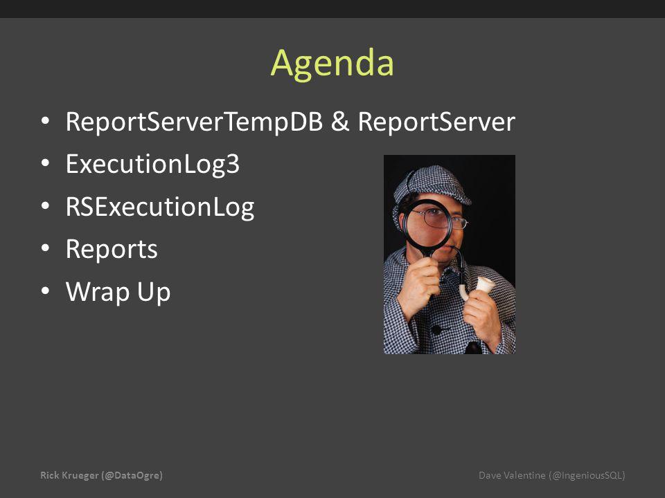 Agenda ReportServerTempDB & ReportServer ExecutionLog3 RSExecutionLog Reports Wrap Up Rick Krueger (@DataOgre)Dave Valentine (@IngeniousSQL)