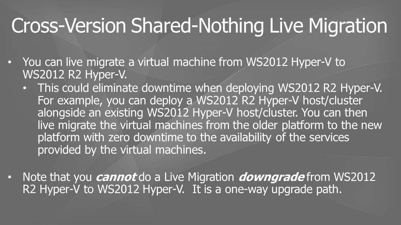 You can live migrate a virtual machine from WS2012 Hyper-V to WS2012 R2 Hyper-V.