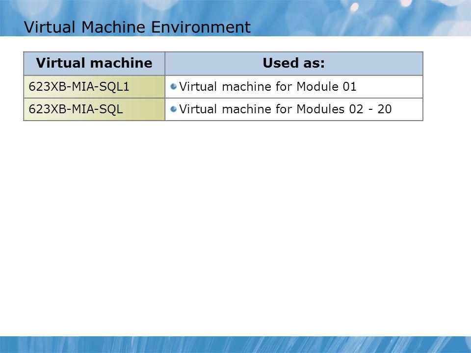 Virtual Machine Environment Virtual machineUsed as: 623XB-MIA-SQL1Virtual machine for Module 01 623XB-MIA-SQLVirtual machine for Modules 02 - 20