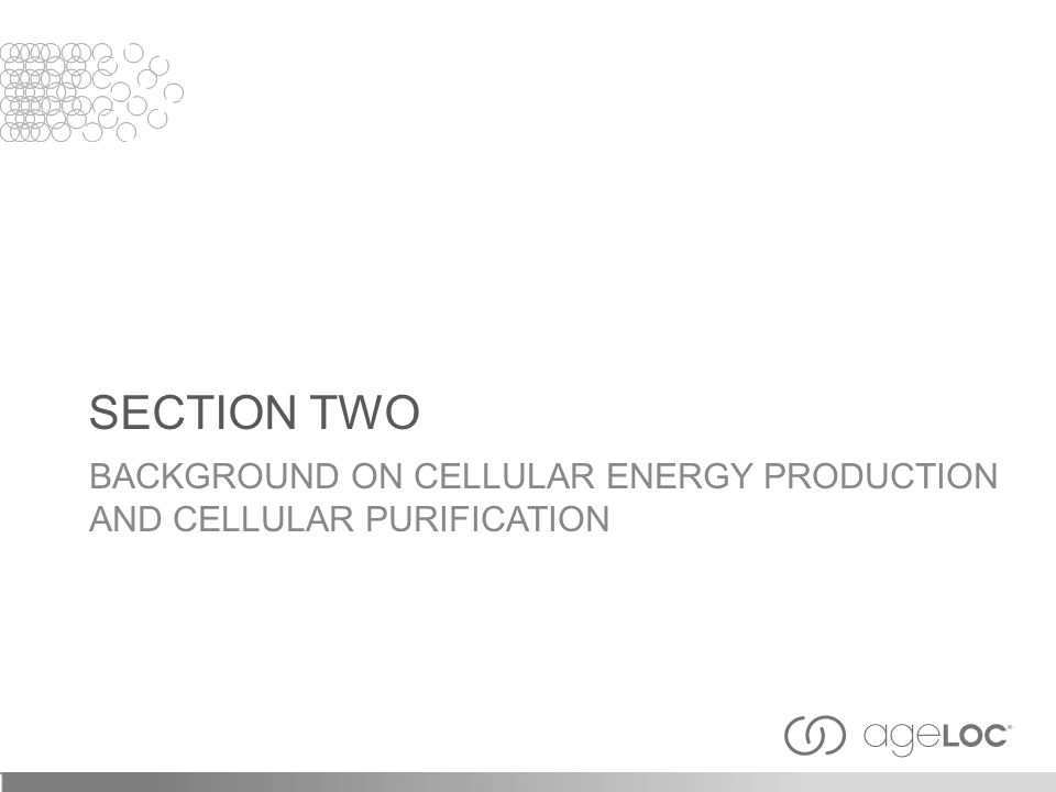 SECTION TWO BACKGROUND ON CELLULAR ENERGY PRODUCTION AND CELLULAR PURIFICATION