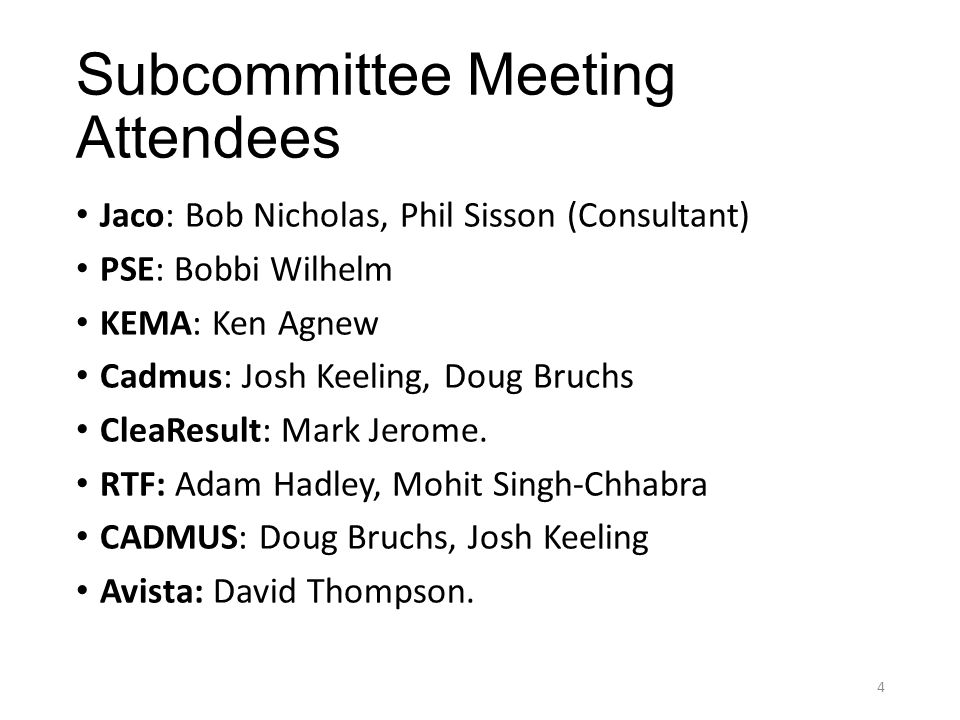 Subcommittee Meeting Attendees Jaco: Bob Nicholas, Phil Sisson (Consultant) PSE: Bobbi Wilhelm KEMA: Ken Agnew Cadmus: Josh Keeling, Doug Bruchs CleaResult: Mark Jerome.