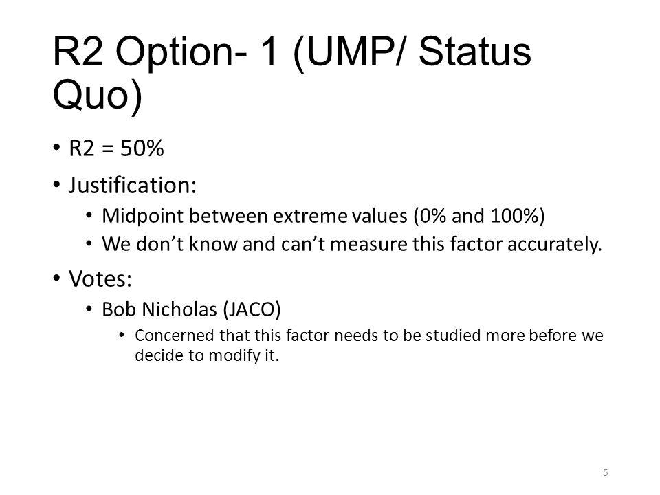 R2 Option-2.(PSE Study) R2 = 97 % Justification: Based on survey data.