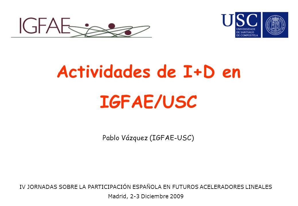 Actividades de I+D en IGFAE/USC Pablo Vázquez (IGFAE-USC) IV JORNADAS SOBRE LA PARTICIPACIÓN ESPAÑOLA EN FUTUROS ACELERADORES LINEALES Madrid, 2-3 Diciembre 2009