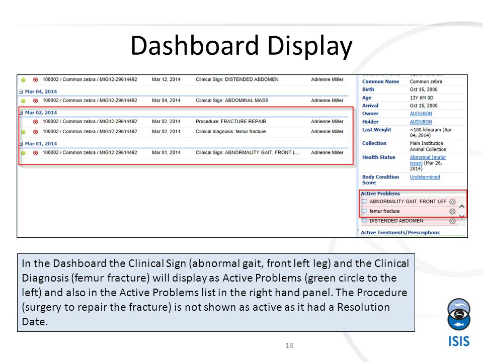 Dashboard Display In the Dashboard the Clinical Sign (abnormal gait, front left leg) and the Clinical Diagnosis (femur fracture) will display as Active Problems (green circle to the left) and also in the Active Problems list in the right hand panel.