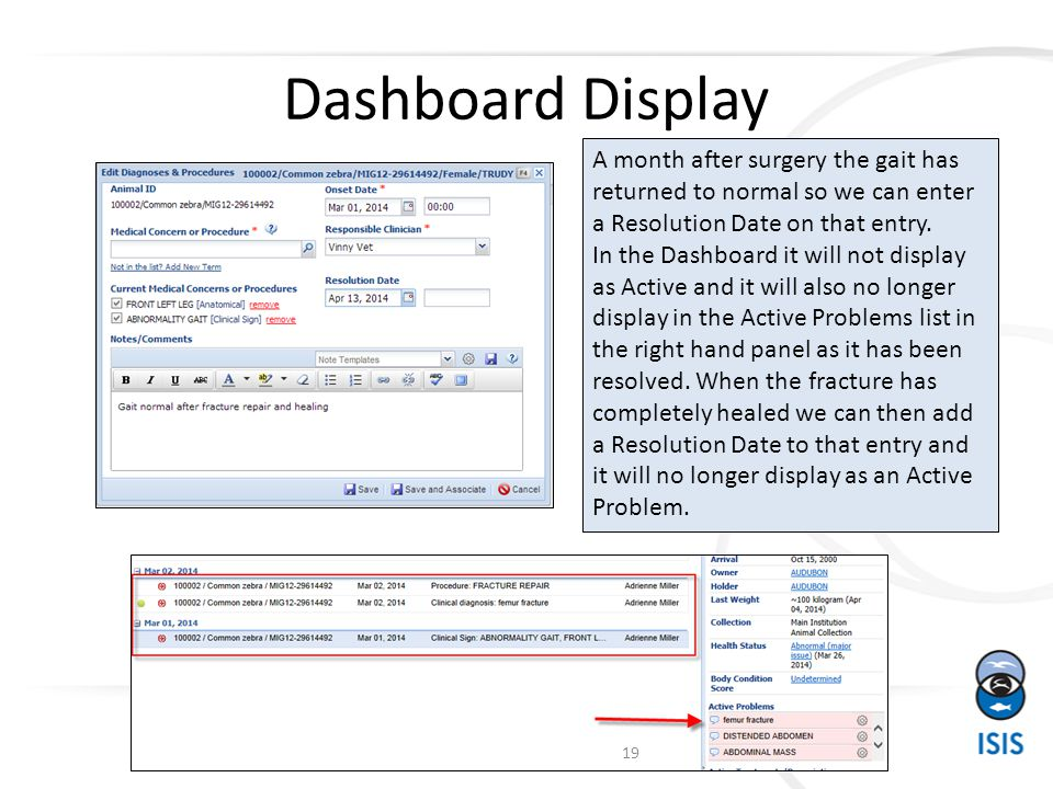 Dashboard Display A month after surgery the gait has returned to normal so we can enter a Resolution Date on that entry.