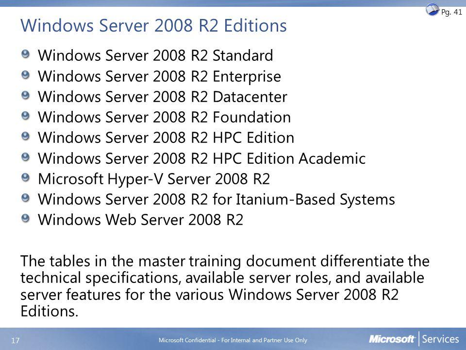 Windows Server 2008 R2 Editions Windows Server 2008 R2 Standard Windows Server 2008 R2 Enterprise Windows Server 2008 R2 Datacenter Windows Server 200