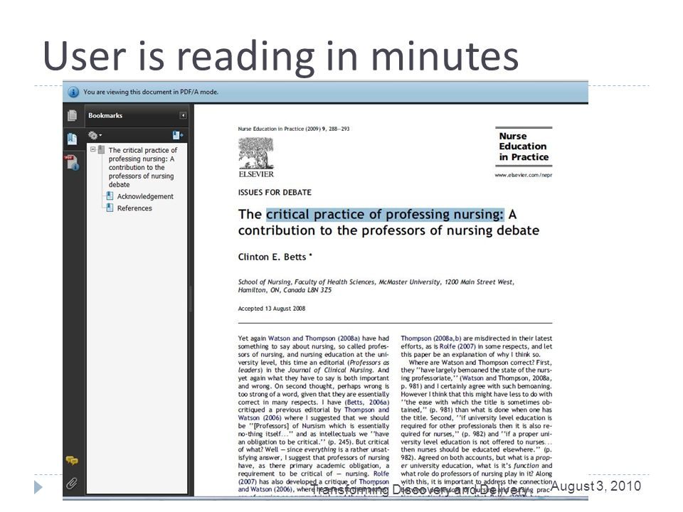 User is reading in minutes August 3, 2010 Transforming Discovery and Delivery