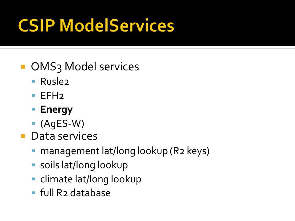  OMS3 Model services  Rusle2  EFH2  Energy  (AgES-W)  Data services  management lat/long lookup (R2 keys)  soils lat/long lookup  climate lat/long lookup  full R2 database