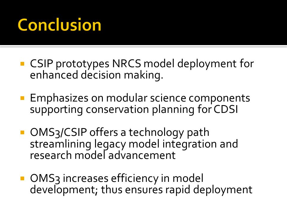  CSIP prototypes NRCS model deployment for enhanced decision making.