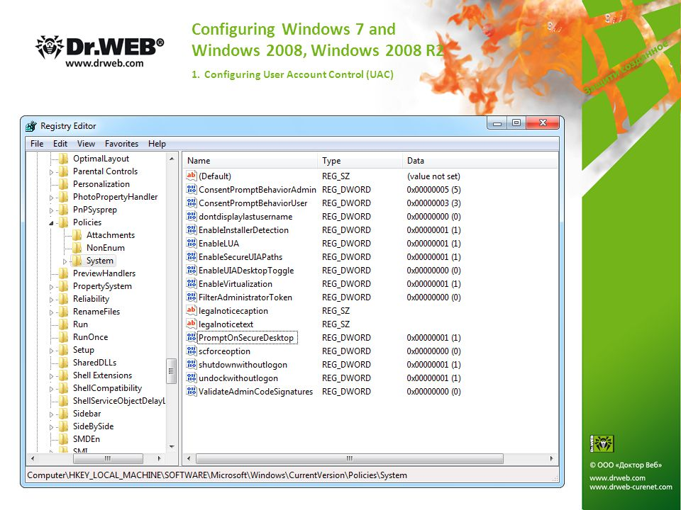 Configuring Windows 7 and Windows 2008, Windows 2008 R2 1. Configuring User Account Control (UAC)