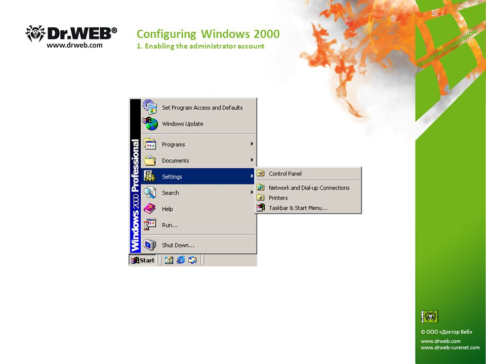Configuring Windows Vista 3. Enabling the administrator account.