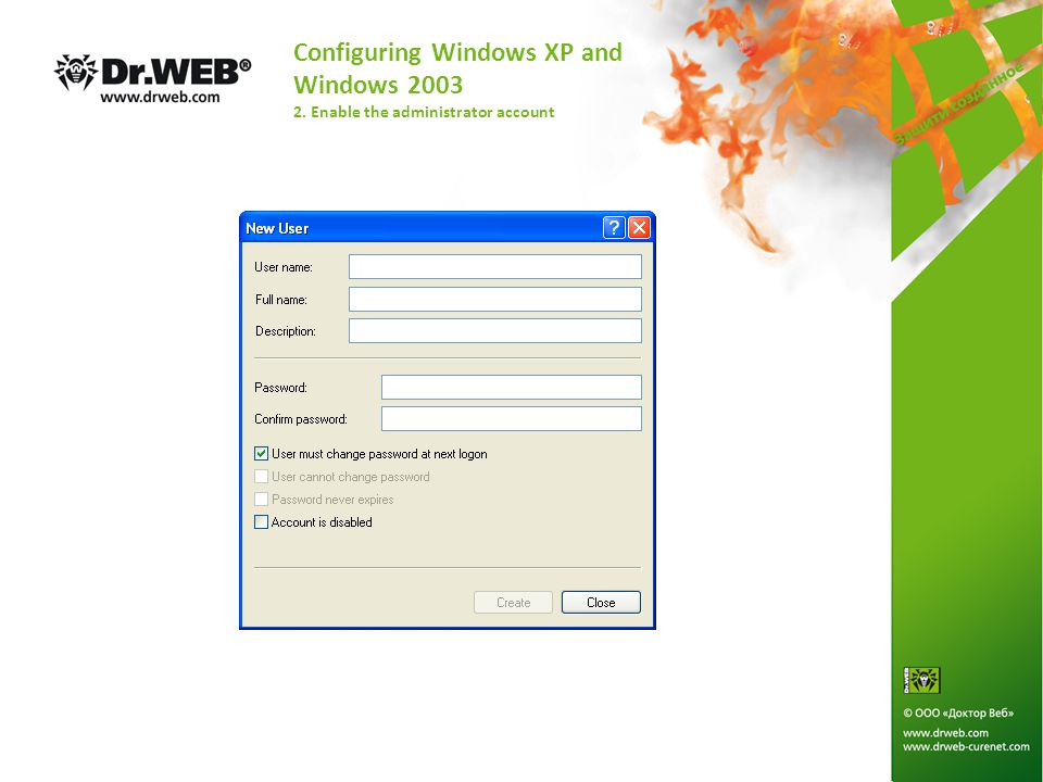Configuring Windows XP and Windows 2003 2. Enable the administrator account