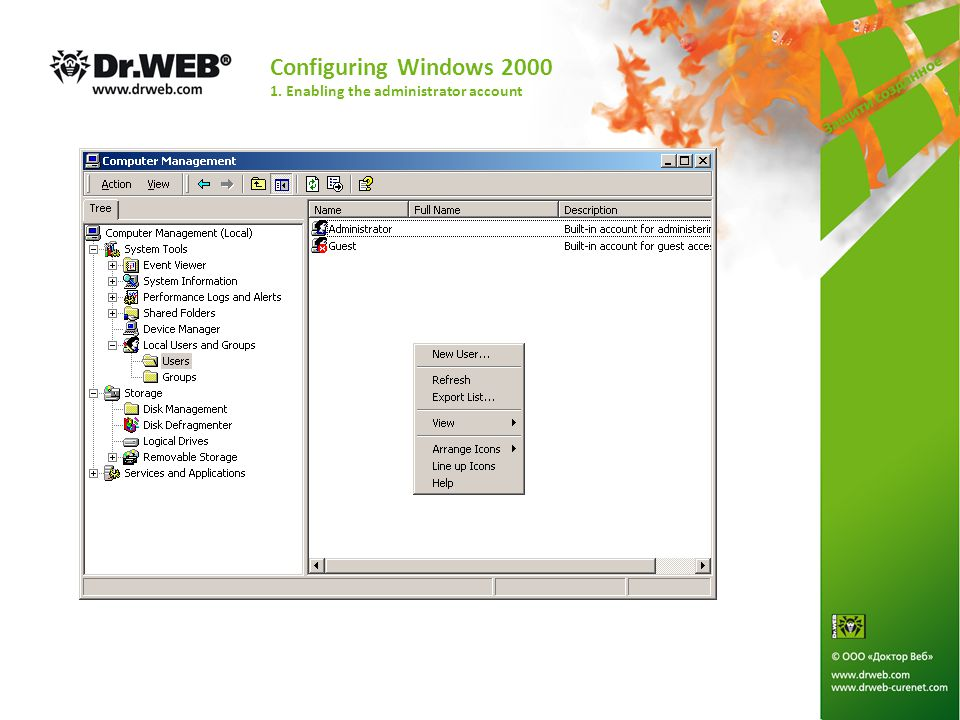 Configuring Windows XP and Windows 2003 2. Enabling the administrator account