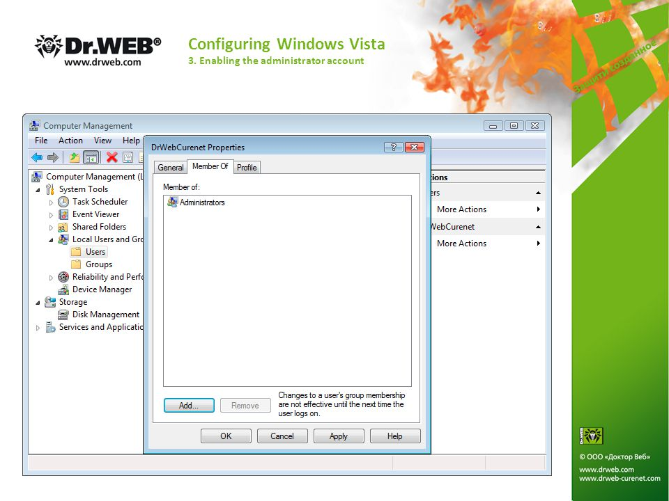 Configuring Windows Vista 3. Enabling the administrator account