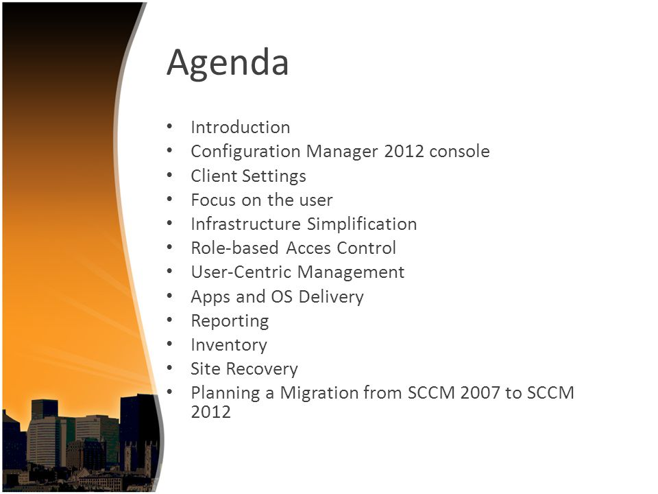 Planning a migration from SCCM 2007 to SCCM 2012 Upgrading SCCM 2007 to SCCM 2012 is not supported Source Hierarchy Branch Distribution Points Secondary Sites Collections Packages Server Locator Point Software Update Point Reporting Point Shared Distribution Points Upgrading Clients Collections containing both users and systems or devices can t be migrated.