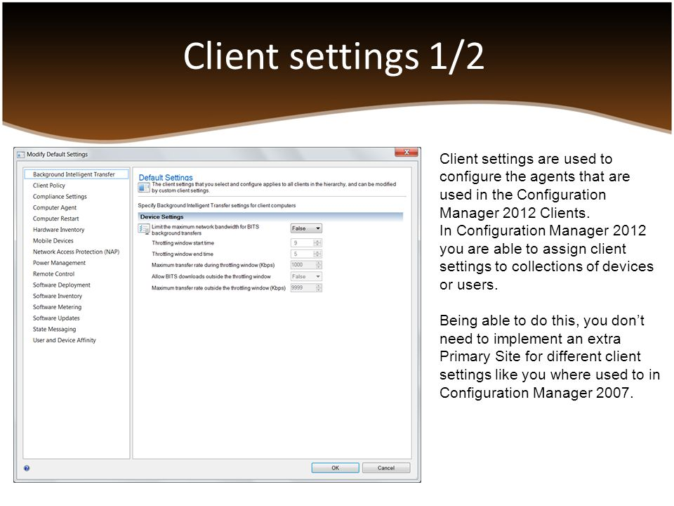 Planning a migration from SCCM 2007 to SCCM 2012 Upgrading SCCM 2007 to SCCM 2012 is not supported Source Hierarchy Branch Distribution Points Secondary Sites Collections Packages Server Locator Point Software Update Point Reporting Point Shared Distribution Points Upgrading Clients The standard Reporting Point role (Web reporting) is no longer supported in SCCM 2012.