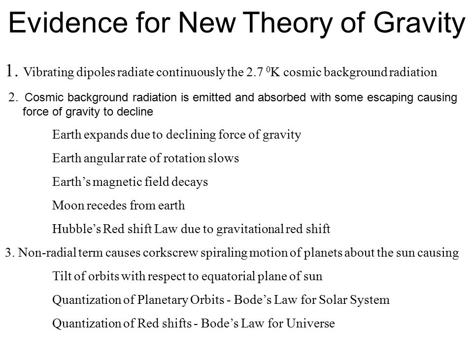 Evidence for New Theory of Gravity 1. Vibrating dipoles radiate continuously the 2.7 0 K cosmic background radiation 2. Cosmic background radiation is