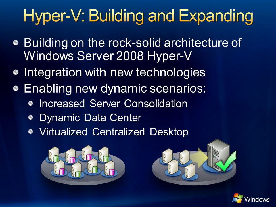 Building on the rock-solid architecture of Windows Server 2008 Hyper-V Integration with new technologies Enabling new dynamic scenarios: Increased Ser