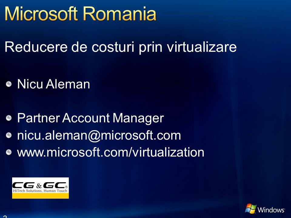 Reducere de costuri prin virtualizare Nicu Aleman Partner Account Manager nicu.aleman@microsoft.com www.microsoft.com/virtualization 2
