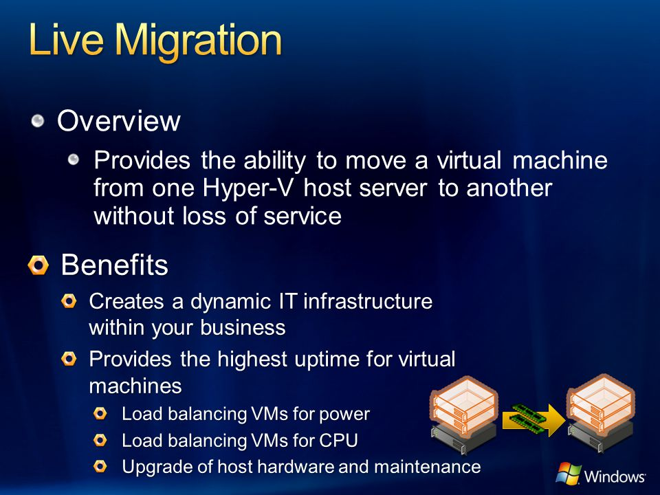 Overview Provides the ability to move a virtual machine from one Hyper-V host server to another without loss of service
