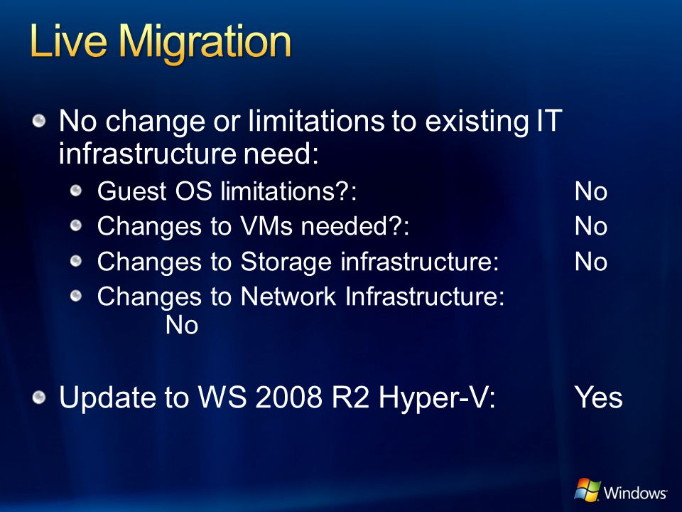 No change or limitations to existing IT infrastructure need: Guest OS limitations?:No Changes to VMs needed?:No Changes to Storage infrastructure:No C