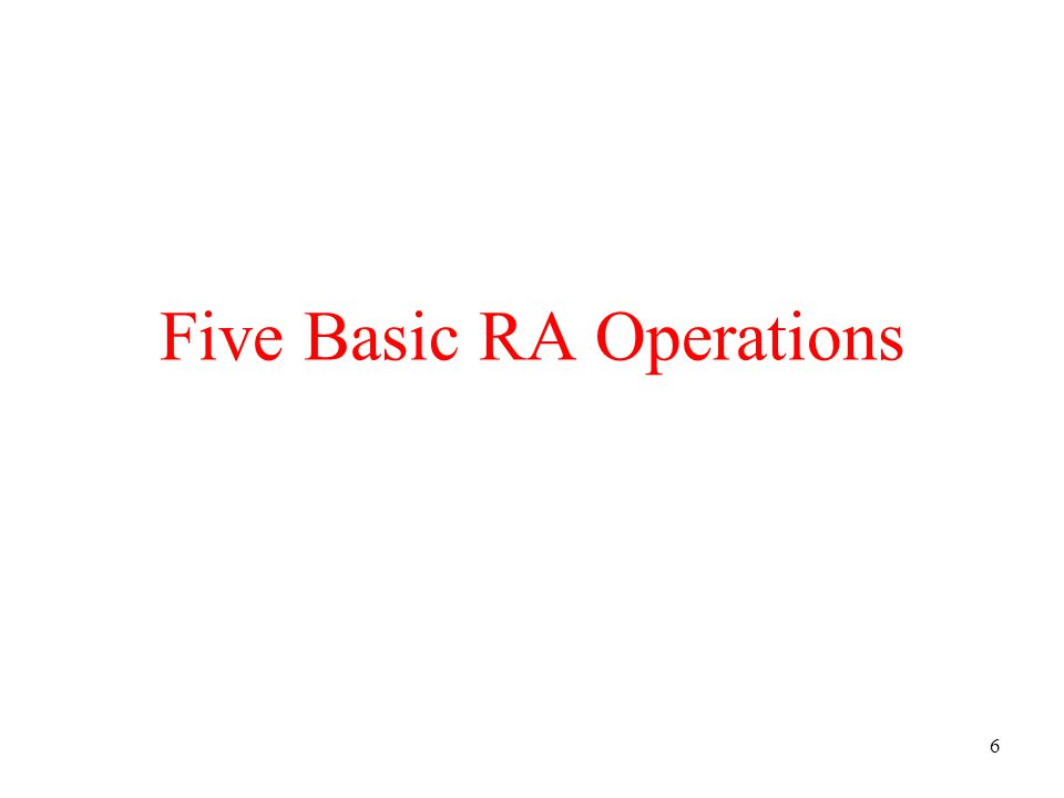27 Set Operations: Intersection All tuples both in R1 and in R2 Notation: R1 R2 R1, R2 must have the same schema R1 R2 has the same schema as R1, R2 Example –UnionizedEmployees RetiredEmployees Intersection is derived: –R1 R2 = R1 – (R1 – R2) why ?
