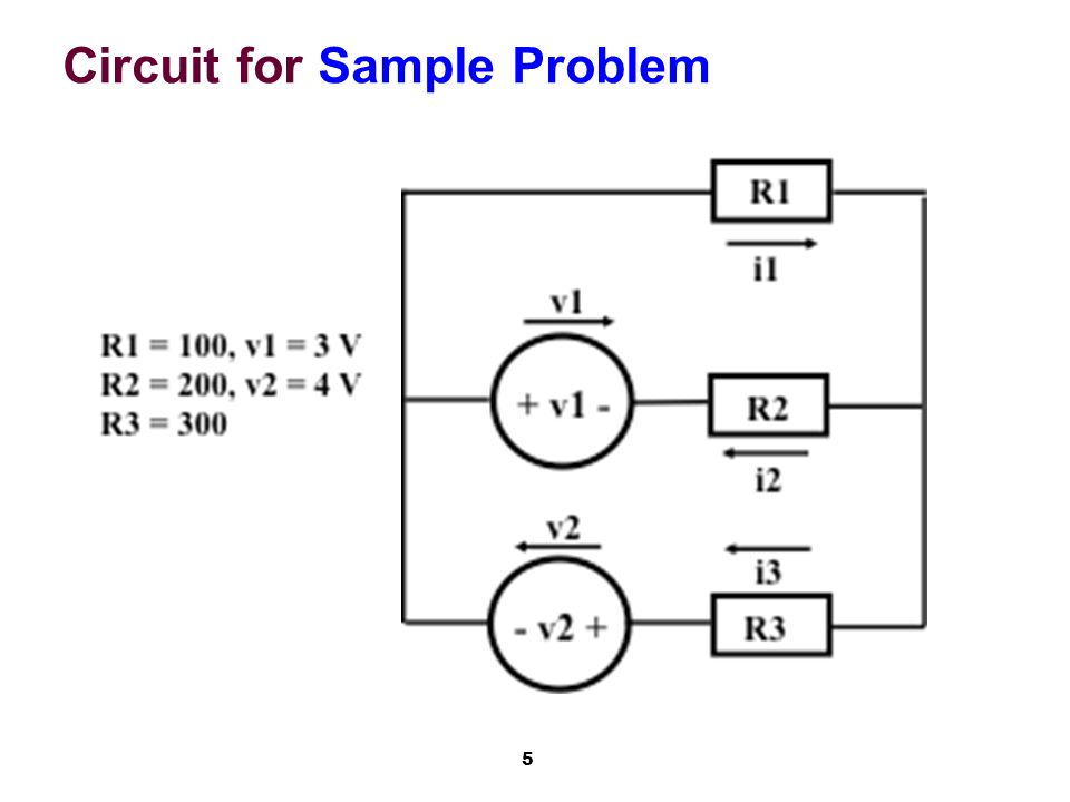 5 Circuit for Sample Problem