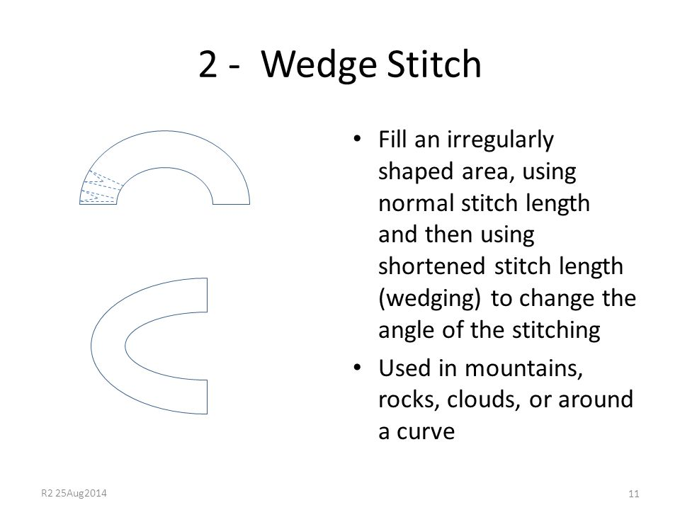 2 - Wedge Stitch Fill an irregularly shaped area, using normal stitch length and then using shortened stitch length (wedging) to change the angle of t