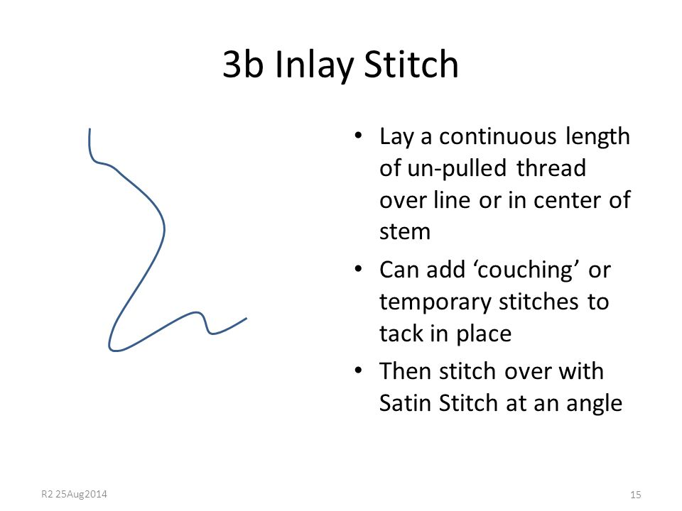 3b Inlay Stitch Lay a continuous length of un-pulled thread over line or in center of stem Can add 'couching' or temporary stitches to tack in place T