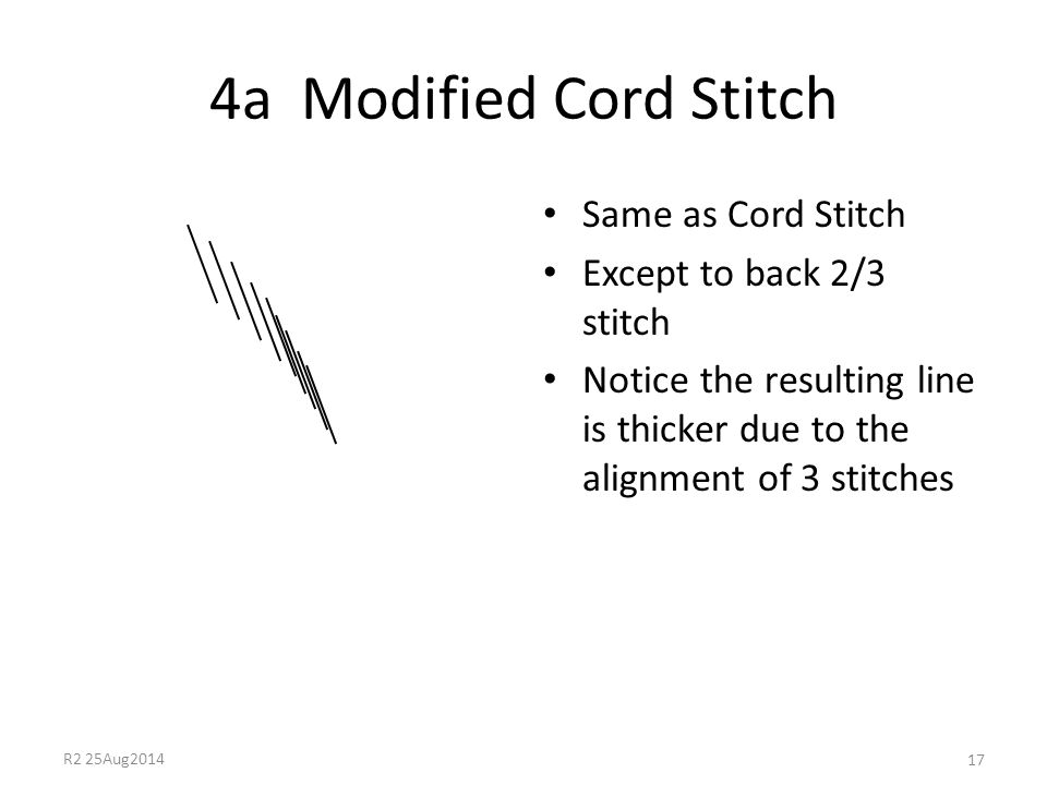 4a Modified Cord Stitch Same as Cord Stitch Except to back 2/3 stitch Notice the resulting line is thicker due to the alignment of 3 stitches 17 R2 25