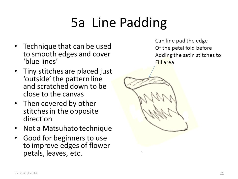 5a Line Padding Technique that can be used to smooth edges and cover 'blue lines' Tiny stitches are placed just 'outside' the pattern line and scratch