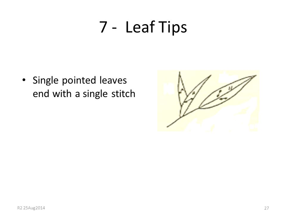 7 - Leaf Tips Single pointed leaves end with a single stitch 27 R2 25Aug2014
