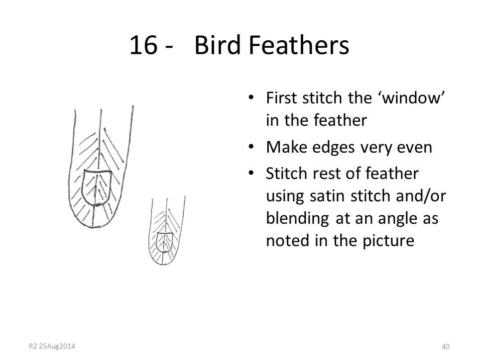 16 - Bird Feathers First stitch the 'window' in the feather Make edges very even Stitch rest of feather using satin stitch and/or blending at an angle